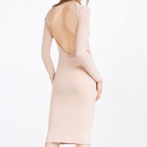 ZARA Nude Blush Long Sleeve Open Back Bodycon Midi